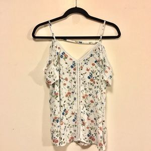 Floral Tank Top with Cold Shoulder